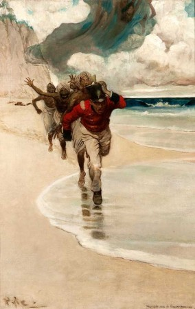 """""""We Started to Run back to the Raft for Our Lives,"""" 1902, Howard Pyle (1853-1911). Oil on canvas, 24 1/4 x 16 1/4 inches Delaware Art Museum, Museum Purchase, 1912."""
