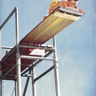 """Boy on Highdive,"" 1947, Norman Rockwell (1894-1978). Norman Rockwell Museum Digital Colletions. ©1947 SEPS: Curtis Publishing, Indianapolis, IN."