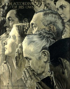 """""""Freedom of Worship,"""" 1943, Norman Rockwell (1894-1978). Oil on canvas, 46"""" x 35 ½"""". Story illustration for """"The Saturday Evening Post,"""" February 27, 1943. Norman Rockwell Museum Collections. ©1943 SEPS: Curtis Publishing, Indianapolis, IN"""
