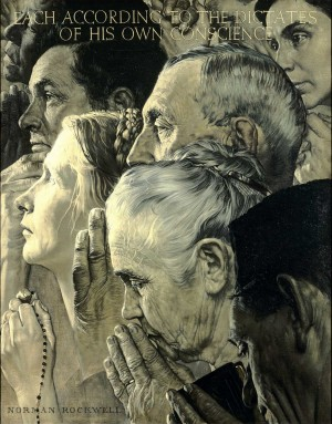 """Freedom of Worship,"" 1943, Norman Rockwell (1894-1978). Oil on canvas, 46"" x 35 ½"". Story illustration for ""The Saturday Evening Post,"" February 27, 1943. Norman Rockwell Museum Collections. ©1943 SEPS: Curtis Publishing, Indianapolis, IN"