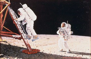 """""""The Final Impossibility: Man's Tracks on the Moon (Two Men on the Moon),"""" 1969, Norman Rockwell (1894-1978). Story illustration for """"Look,"""" December 30, 1969. Collection of the National Air and Space Museum, Smithsonian Institution. Norman Rockwell Museum Digital Collections. ©NRELC: Niles, IL."""