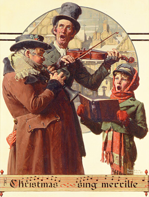 Norman Rockwell (1894-1978), Christmas Trio, 1923. Oil on canvas. Cover illustration for The Saturday Evening Post, December 8, 1923. Norman Rockwell Museum Collections.
