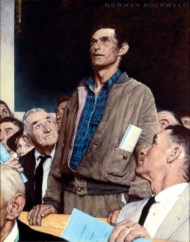"""Freedom of Speech, 1943, Norman Rockwell (1894-1978). Story illustration for ""The Saturday Evening Post,"" February 20, 1943. Norman Rockwell Museum Collections. ©1943 SEPS: Curtis Publishing, Indianapolis, IN."