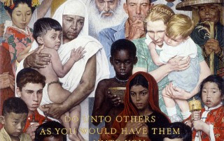 """""""Golden Rule,"""" 1961, Norman Rockwell (1894-1978). Oil on canvas, 44 ½"""" x 39 ½"""" Norman Rockwell Museum Collections. ©1961 SEPS: Curtis Publishing, Indianapolis, IN"""