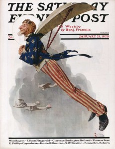 """Uncle Sam Flying,"" 1928, Norman Rockwell (1894-1978). Cover illustration for ""The Saturday Evening Post,"" January 21, 1928. Norman Rockwell Museum Digital Collections. ©SEPS: Curtis Publishing, Indianapolis, IN."