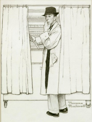 """Norman Rockwell in a Voting Booth,"" Norman Rockwell. 1960. Pencil on paper, 13 ¼"" x 13 ½"". Advertising illustration for Massachusetts Mutual Life Insurance. Norman Rockwell Museum Collections."