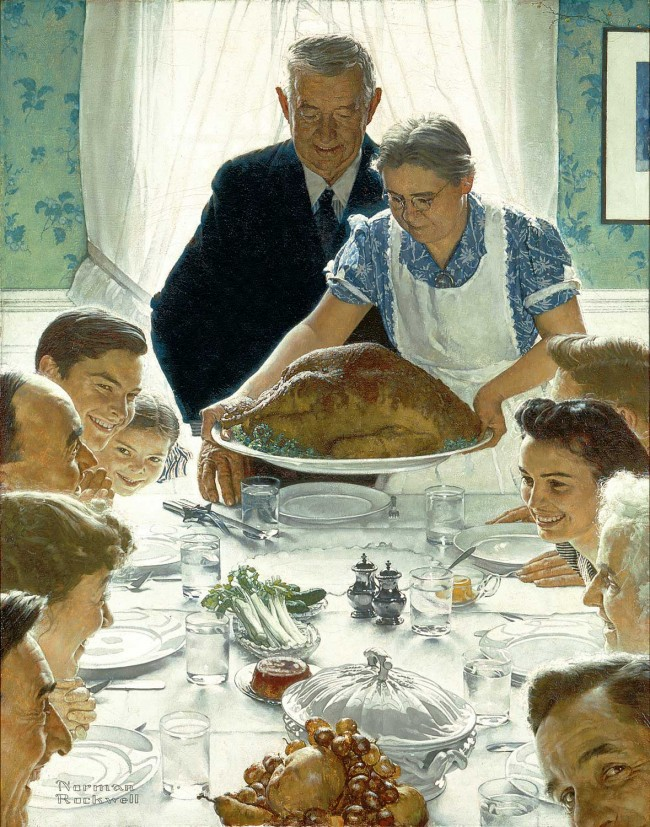 "Norman Rockwell (1894-1978), ""Freedom from Want,"" 1943. Oil on canvas, 45 ¾ x 35 ½"". Story illustration for ""The Saturday Evening Post,"" March 6, 1943. Norman Rockwell Museum Collections. ©1943 SEPS: Curtis Publishing, Indianapolis, IN"