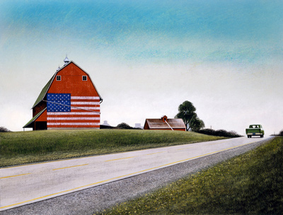 "Wendell Minor, ""Heartland (Red Barn Flag),"" 1989. Cover illustration for ""Heartland"" by Diane Siebert, Thomas Y. Crowell, New York. ©Wendell Minor. All rights reserved."