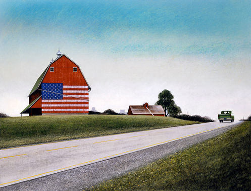 "Wendell Minor, ""Heartland (Red Barn Flag),"" 1989"