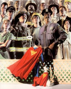 "Alex Ross, Cover for ""9-11: September 11, 2011,"" courtesy of the artist, SUPERMAN, ™ & © DC Comics."