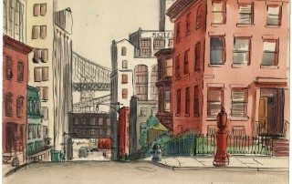 "Mary-Amy Cross (1922-2010), ""Untitled (Brooklyn Street Scene),"" 1940. Collection of the Cross Family. All rights reserved."