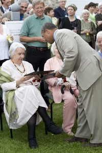 Massachusetts Governor Deval Patrick presents Norman Rockwell Museum Trustee Emerita Norma Greer Ogden with an honorary certificate during the Museum's 40th anniversary celebration, June 9, 2009. Photo by Sarah Edwards. ©Norman Rockwell Museum. All rights reserved
