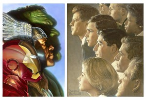 "Left: Alex Ross, ""First Avengers,"" 2010, courtesy of the artist. AVENGERS TM & ©2012 Marvel and Subs.  Right: Norman Rockwell (1894-1978), ""The Peace Corps (J.F.K.'s Bold Legacy), 1966. Norman Rockwell Museum Collections. ©NRELC: Niles, IL"