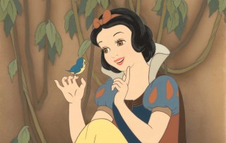 """""""Snow White Greets a Baby Bird,"""" Disney Studio Artist Reproduction cel setup; airbrushed post production background on paper. Courtesy Walt Disney Animation Research Library; © Disney"""