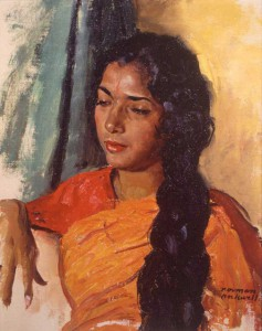 "Norman Rockwell (1894-1978), ""Portrait of an Indian Art Student,"" 1962. Unpublished travel sketch. Oil on canvas on board. Norman Rockwell Museum Collection. ©Norman Rockwell Family Agency. All rights reserved."