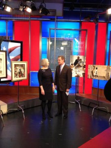 "Norman Rockwell Museum Director/CEO celebrates Norman Rockwell's birthday with ""Fox & Friends."" Photo by Norman Rockwell Museum."