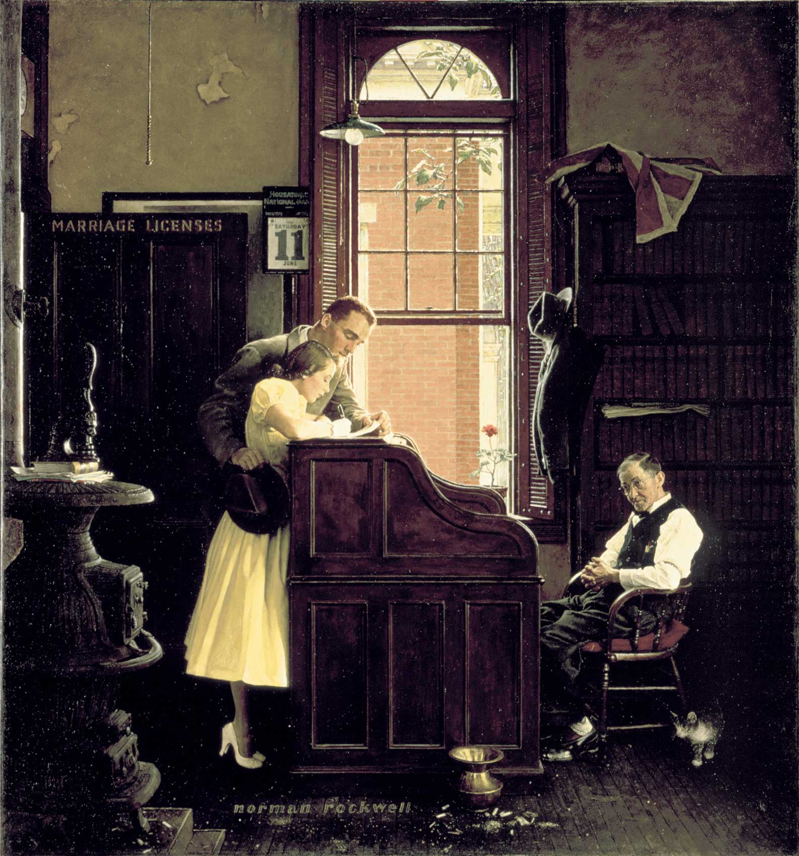 "Norman Rockwell (1894-1978), ""The Marriage License,"" 1954. Oil on canvas. Cover illustration for ""The Saturday Evening Post,"" June 11, 1955. Norman Rockwell Museum Collections. ©SEPS: Curtis Publishing, Indianapolis, IN."