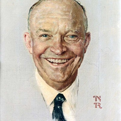 "Norman Rockwell (1894-1978), ""Portrait of Dwight D. Eisenhower,"" 1952. Story illustration for ""The Day I Painted Ike,"" by Norman Rockwell. ""The Saturday Evening Post,"" October 11, 1952. Oil on board. Private collection. ©SEPS: Curtis Publishing, Indianapolis, IN"