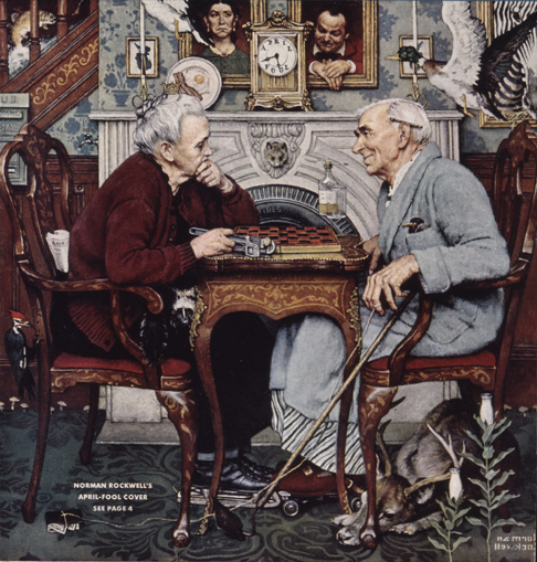 "Norman Rockwell (1894-1978), ""April Fool: Checkers,"" 1943. Cover illustration for ""Saturday Evening Post,"" April 3, 1943. Norman Rockwell Museum Digital Collections. ©SEPS: Curtis Publishing, Indinapolis, IN. Featured in the Norman Rockwell Museum exhibition, ""Norman Rockwell's 323 'Saturday Evening Post' Covers."""