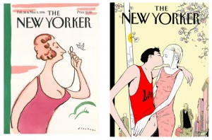 "Left: R.O. Blechman, ""Woman's Issue,"" 1996. Cover illustration for ""The New Yorker"" (February 26 & March 4, 1996). ©R.O. Blechman. All rights reserved. Right: Istvan Banyai, ""Spring Is In The Air,"" 2002. Cover illustration for ""The New Yorker"" (May 6, 2002). ©Istvan Banyai. All rights reserved."
