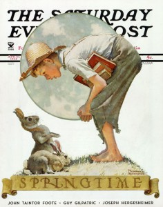 "Norman Rockwell (1894-1978), ""Springtime: Boy and Rabbit,"" 1935. ""Saturday Evening Post"" cover, April 27, 1935. Norman Rockwell Museum Digital Collections. ©SEPS: Curtis Publishing, Indianapolis, IN. Featured in Norman Rockwell Museum's exhibition ""Norman Rockwell's 323 'Saturday Evening Post' Covers."""