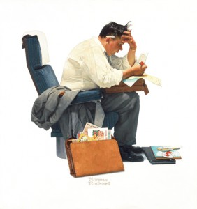 "Norman Rockwell (1894-1978), ""Expense Account,"" 1957. Painting for ""The Saturday Evening Post"" cover, November 30, 1957. Oil on canvas, 31 /14"" x 29"". Norman Rockwell Museum Collections. ©SEPS: Curtis Publishing, Indianapolis, IN."
