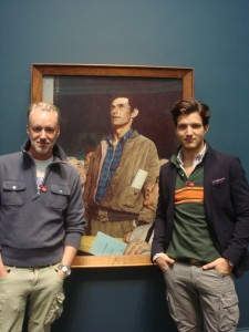 "Photo of designer Michael Bastian and model visiting Norman Rockwell Museum in April 2013 for a photo shoot around Bastian's ""Stockbridge"" clothing line for Gant, inspired by the work of Norman Rockwell. Photo ©Norman Rockwell Museum. All rights reserved."