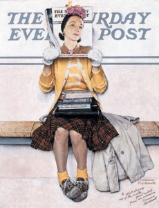 "Norman Rockwell (1894-1978), ""Girl Reading the Post,"" 1941. Oil on canvas, 35 1/4"" x 27 1/4"". Cover illustration for ""The Saturday Evening Post,"" March 1, 1941. Norman Rockwell Museum Collections, gift of the Walt Disney Family, 1999. ©SEPS: Curtis Publishing, Indianapolis, IN."