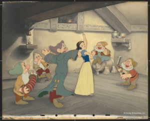 """Snow White Dancing with Dopey and Sneezy. Doc, Happy, Bashful, Sleepy Playing Music."" Disney Studio Artist Reproduction cel setup; ink and acrylic on cellulose acetate. Courtesy Walt Disney Animation Research Library. ©Disney."