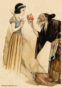 """Snow White and Witch with Poisoned Apple,"" Gustaf Tengrren. Book illustration; watercolor and ink on paper. Courtesy Walt Disney Family Foundation; ©Disney"