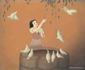 Snow White with Pigeons, Draws Water. Disney Studio Artist Reproduction cel setup; acrylic on cellulose acetate and gouache on paper. Courtesy Walt Disney Animation Research Library; ©Disney.