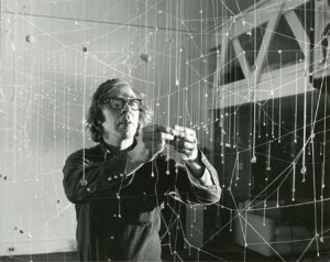 Photo of Jarvis Rockwell creating thread installation, c. 1975. Photo by Clemens Kalischer. All rights reserved.