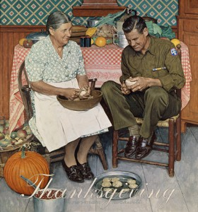 "Norman Rockwell (1894-1978), ""Home for Thanksgiving (Mother and Son Peeling Potatoes),"" 1945"