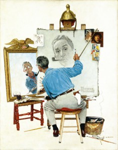 "Norman Rockwell (1894-1978), ""Triple Self-Portrait,"" 1959. Oil on canvas, 44 1/2"" x 34 1/3"". Cover illustration for ""The Saturday Evening Post,"" February 13, 1960."