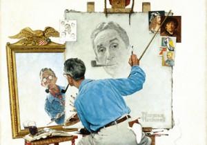 """Norman Rockwell (1894-1978), """"Triple Self-Portrait"""" (detail), 1959"""