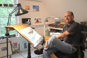 Photo of illustrator Wendell Minor in his Washington, Connecticut