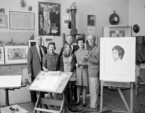 Norman Rockwell with portrait of Jane Fitzpatrick