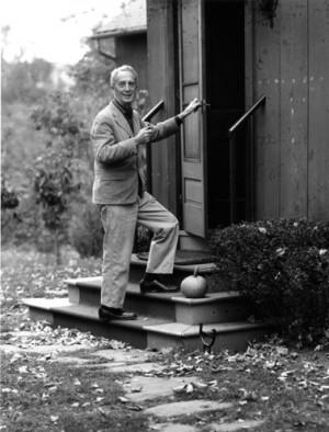 Norman Rockwell at studio door. Photo by Louie Lamone.