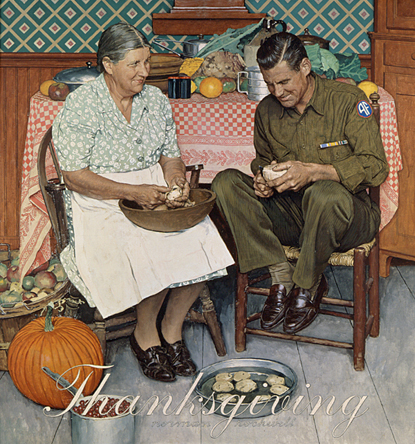 "Norman Rockwell (1894-1978), ""Thanksgiving: Mother and Son Peeling Potatoes,"" 1945"