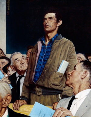 Freedom of Speech, Norman Rockwell. 1943.Story illustration for The Saturday Evening Post, February 20, 1943 From the permanent collection of Norman Rockwell Museum ©1943 SEPS: Licensed by Curtis Publishing, Indianapolis, IN
