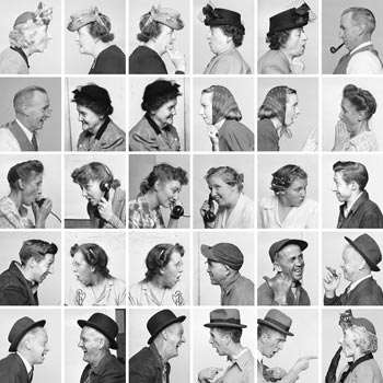 Reference photos for Norman Rockwell's The Gossips, 1948. Photos by Gene Pelham. Photo montage created by Ron Schick. Licensed by Norman Rockwell Licensing, Niles, IL. From the permanent collection of Norman Rockwell Museum.