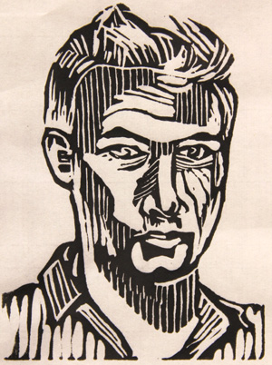 "Eli Neuman-Hammond, ""Self-Portrait,"" 2014. Acrylic linocut, 4"" x 6"". John Dewey Academy, 12th grade. ©Eli-Neuman-Hammond. All rights reserved."