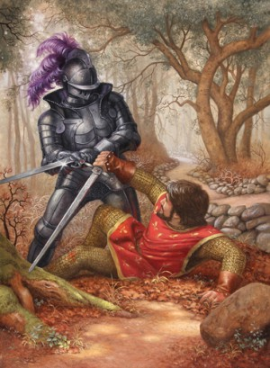 "Ruth Sanderson, ""Suddenly Owen and the black knight emerged from the trees, locked in endless combat,"" 1991."