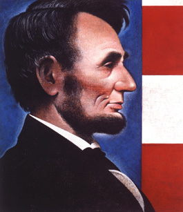 "Wendell Minor, cover illustration for ""Lincoln"" by David Herbert Donald (New York: Simon & Schuster., 1995). ©Wendell Minor. All rights reserved."