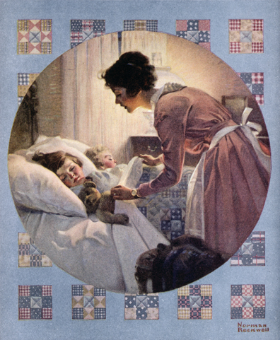"Norman Rockwell (1894-1978), ""Mother Tucking Children into Bed,"" 1921"