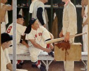 """Norman Rockwell (1894-1978), """"The Rookie"""" (Red Sox Locker Room),"""" 1957."""