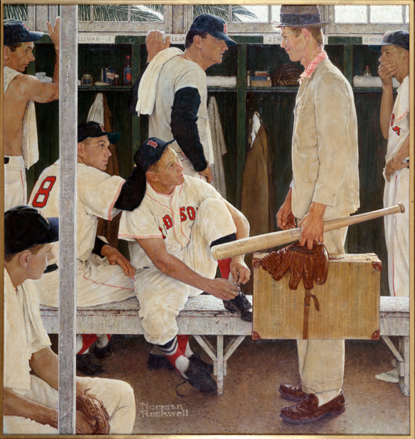"Norman Rockwell (1894-1978), ""The Rookie"" (Red Sox Locker Room),"" 1957."