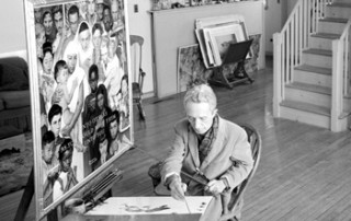 Norman Rockwell in his Stockbridge studio, 1960