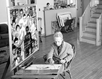 Norman Rockwell in his Stockbridge studio, 1960