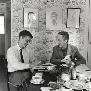 "Photo of Thomas and Norman Rockwell working on ""My Adventures"""